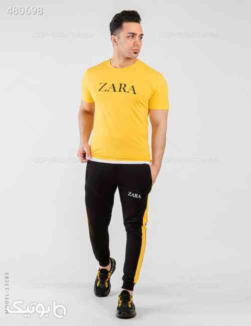 ست تیشرت و شلوار مردانه Zara مدل 13283 زرد 99 2020