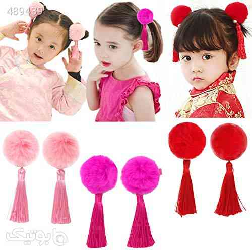 Baby Girls Chinese Style Hairy Furry Balls Bows Tassels Hair Clips Barrettes for Kids Festival - سنجاق سر و آرایش مو