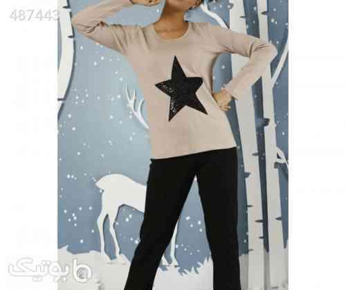 بلوز شلوار زنانه سیاه اینجی طرح ستاره کرم 99 2020