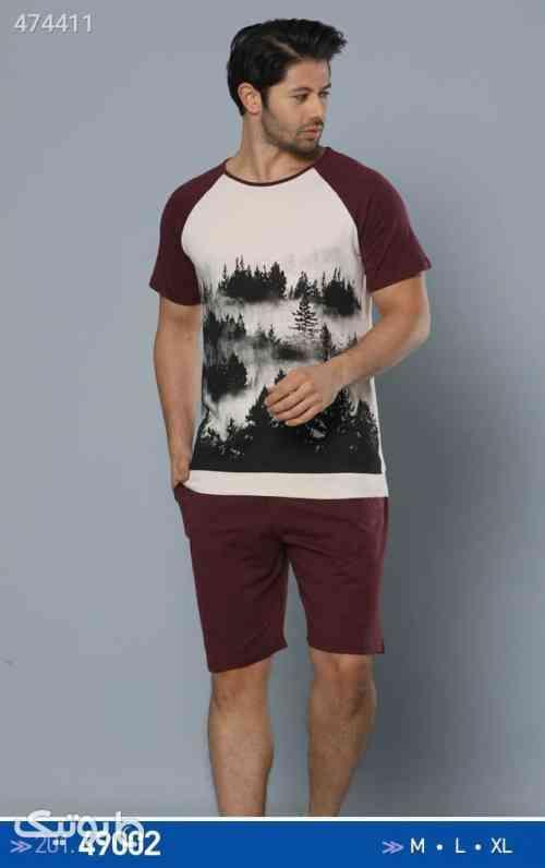 تی شرت شلوارک مردانه  زرشکی 99 2020