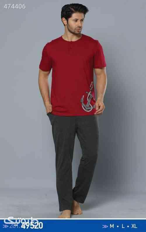 تی شرت شلوار مردانه  زرشکی 99 2020