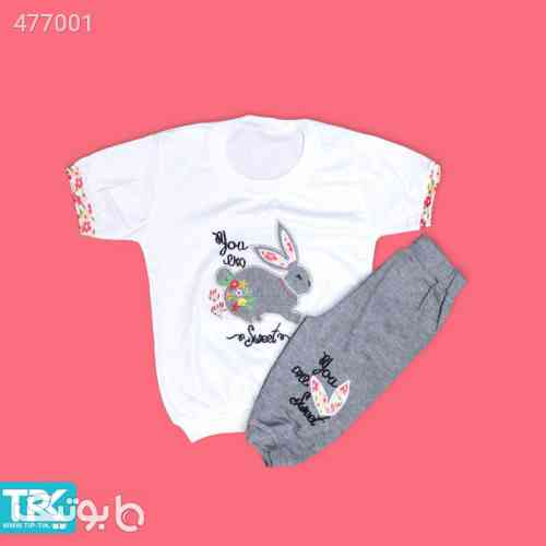 تیشرت شلوارک دخترانه  - لباس کودک دخترانه