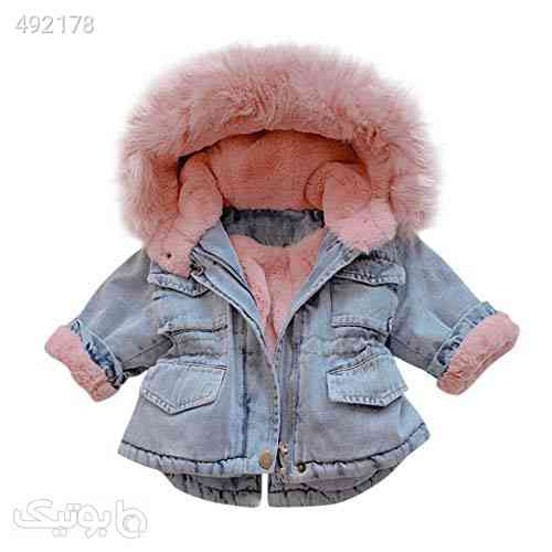 WUAI-Baby Girls Faux Fur Denim Jackets Little Kids Hooded Fleece Warm Jean Coat Plush Outwear for Toddler/Baby Girls آبی 99 2020