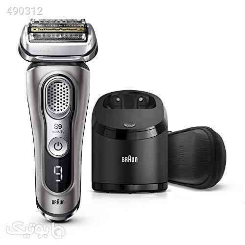 Braun Electric Razor for Men, Series 9 9385cc, Electric Shaver, Pop-Up Precision Trimmer, Rechargeable, Cordless Foil Shaver, Clean & Charge Station and Leather Travel Case, Graphite نقره ای 99 2020