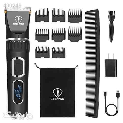 Ceenwes Hair Clippers Professional Heavy Duty Barber Shavers Machine 3-Speed Rechargeable Cordless Haircutting Tools for Men and Family Use مشکی 99 2020