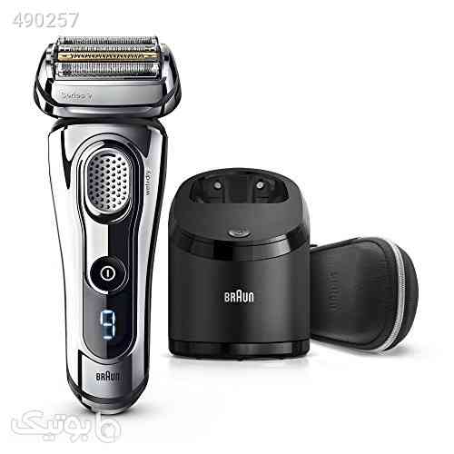 Electric Razor for Men By Braun, Series 9 9296CC Electric Shaver With Precision Trimmer, Rechargeable, Wet & Dry Foil Shaver, Clean & Charge Station & Leather Travel Case نقره ای 99 2020