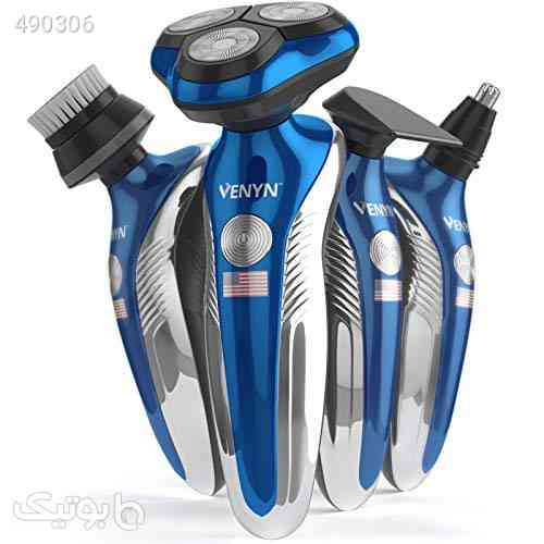 Venyn 4 In 1 Richor Rotatory Electric Shaver - Works for Wet, Dry Beard - Body Hair Trimmer - Water Resistant -Cordless Face Cleaner آبی 99 2020