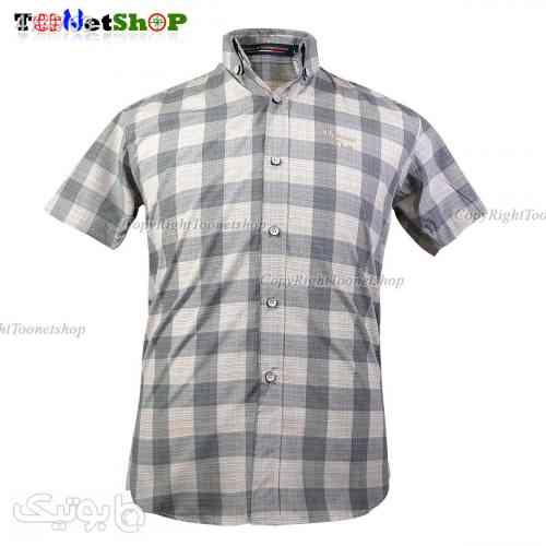 پیراهن آستین کوتاه چهارخانه مردانه 2103 نقره ای 99 2020