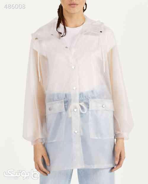 سفید بارانی کلاهدار زنانه برند Bershka کد 1592973227 سفید 99 2020