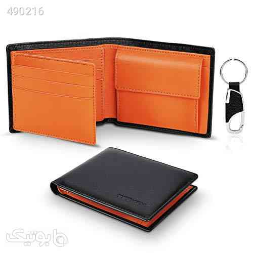 TEEHON® Wallets Mens Slim RFID Blocking Genuine Leather with Coin Pocket, 2 Banknote Compartments, 10 Credit Card Holders(ID Window), Key Holder. Wallet for Men with Gift Box-Black & Orange مشکی 99 2020