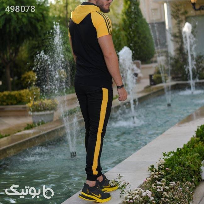 ست تیشرت وشلوار زیپ دار Adidas  زرد ست ورزشی مردانه