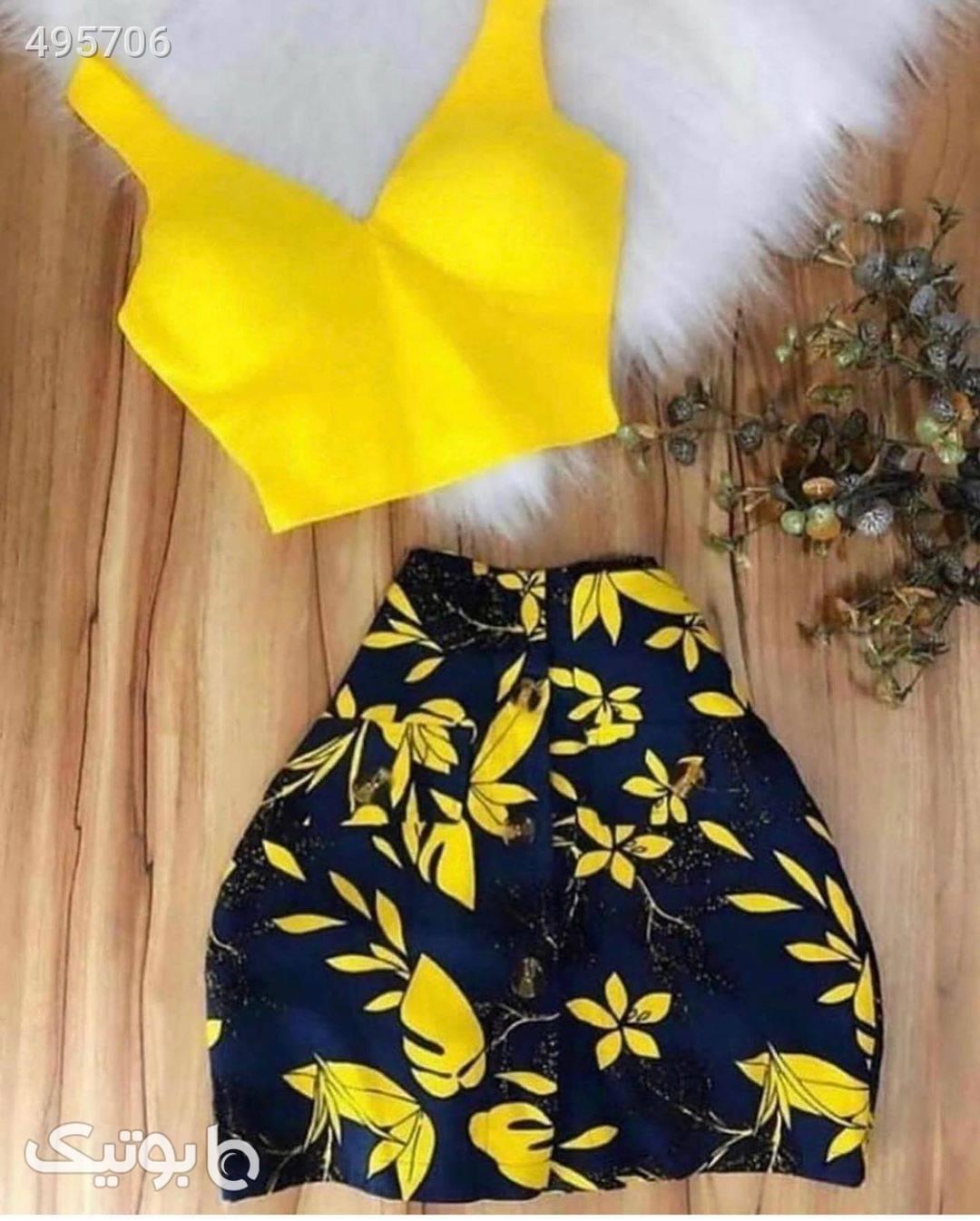 نیم تنه و دامن زرد لباس راحتی زنانه