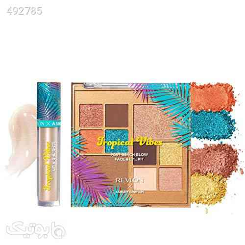 REVLON x Ashley Graham Tropical Vibes Makeup Kit in Tropical Pop, Lip gloss, Face and Eyeshadow palette, Pack of 2 فیروزه ای 99 2020