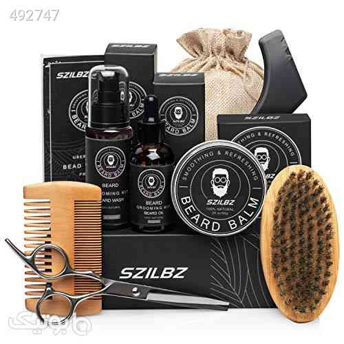 SZILBZ Beard Care Kit for Men Grooming Balm Oil Shampoo Wash Brush Comb Scissors Natural Mild Gifts Use Dating Party Wedding کرم 99 2020