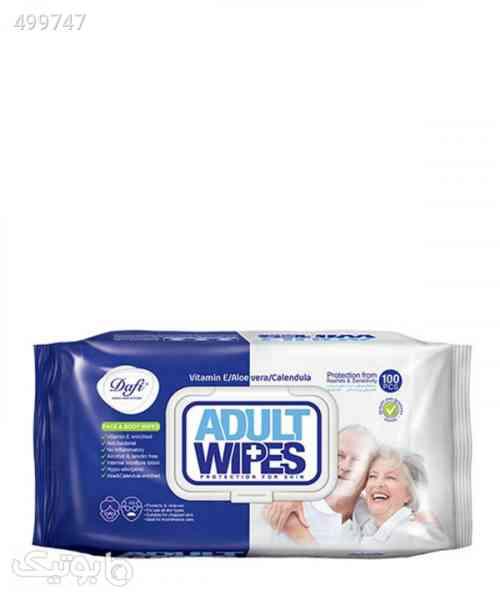 دستمال مرطوب پاککننده بزرگسالان دافی Dafi مدل Adult Wipes بسته 100 عددی سورمه ای 99 2020