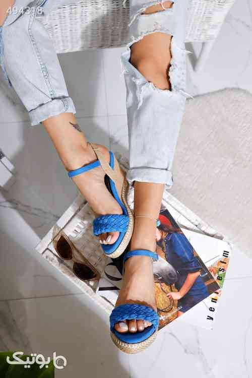 صندل پاشنه بلند ارگونومیک جیر حصیری بندی آبی کفش لژ برند Limoya کد 1591523007 آبی 99 2020