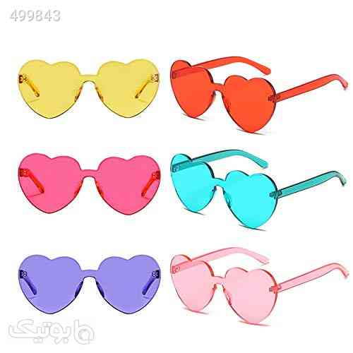Heart Transparent Multicolor Party Favors Big Rimless Sunglasses for Women آبی 99 2020