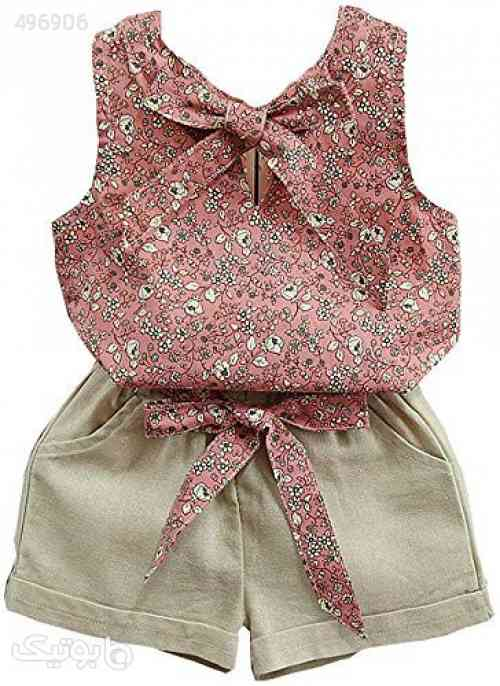 Baby Clothing Kids Summer Clothes Girls Flower Printing Vest + Pure Color Pants Children Clothing Set صورتی 99 2020