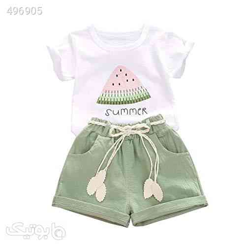 CM C&M WODRO Baby Toddler Girls Summer Shorts Sets Kids Watermelon Letter Print Tops Shorts Outfits Clothes for 1-4 Years Old سفید 99 2020