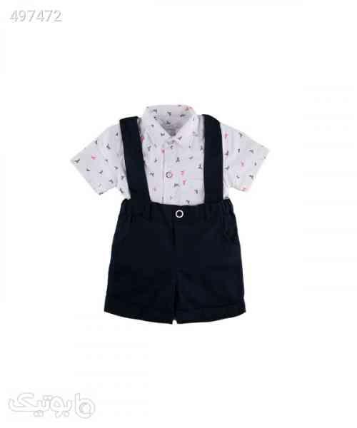 ست پیراهن و شلوارک نوزاد پسرانه فیورلا Fiorella مدل fi-2037 سفید 99 2020
