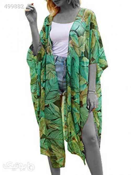 Hibluco Women's Casual Cover Ups Printed Kimono Cardigan Sheer Tops Loose Blouse - پوشاک و لوازم شنا زنانه
