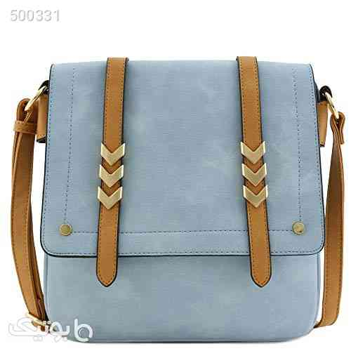 Double Compartment Large Flapover Crossbody Bag with Colorblock Straps فیروزه ای 99 2020
