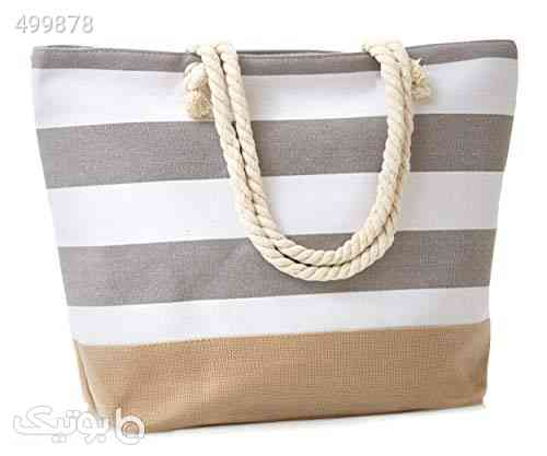"Leisureland Canvas Tote Beach Bag, Water Resistant Shoulder Tote Bag (L20""xH15""xW6"", Stripe Gray) کرم 99 2020"