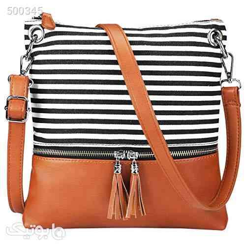 Newshows Women Lightweight Medium Canvas PU Leather Crossbody Bag with Tassel قهوه ای 99 2020
