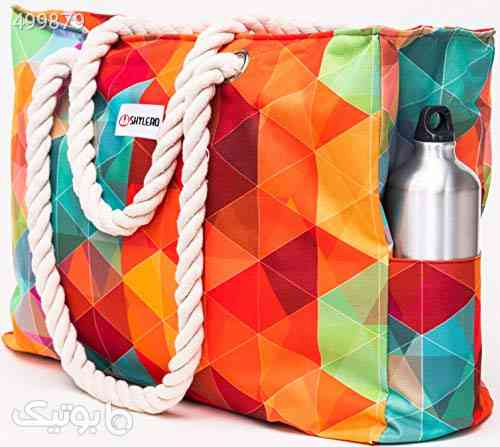 SHYLERO Beach Bag XL. Waterproof (IP64). L22 xH15 xW6 w Cotton Rope Handles, Top Zip, Two Outside Pockets. Vibrant Tote Has Waterproof Phone Case, Built-in Key Holder, Bottle Opener نارنجی 99 2020