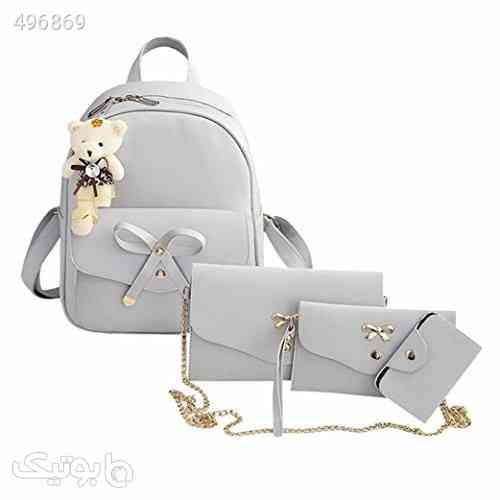 Clearance! Women Teen Girls PU Leather 4pcs Set Backpack Purse Shoulder Bag Handbag Crossbody Bag Rucksack (Gray) سفید 99 2020