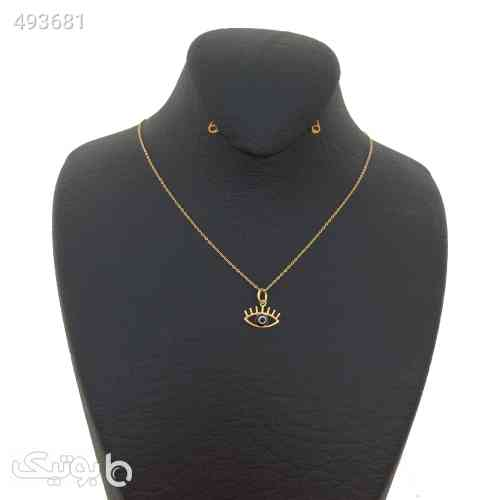 گردنبند طلا  الماسین آذر طرح چشمنظر زرد 99 2020
