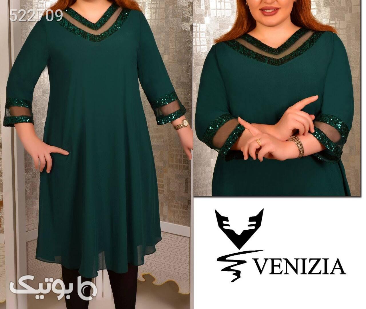پیراهن سایز بزرگ زنانه سبز سایز بزرگ زنانه