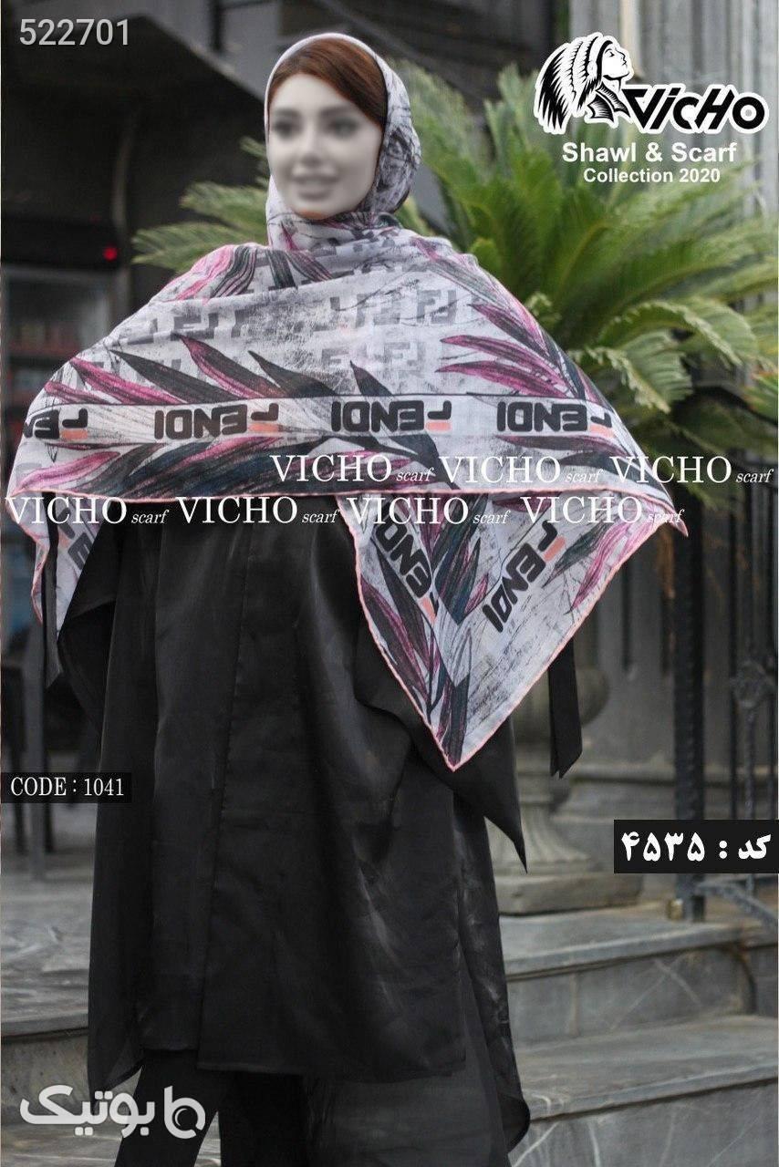 روسری نخ کریستال دور دوخت برند سفید شال و روسری