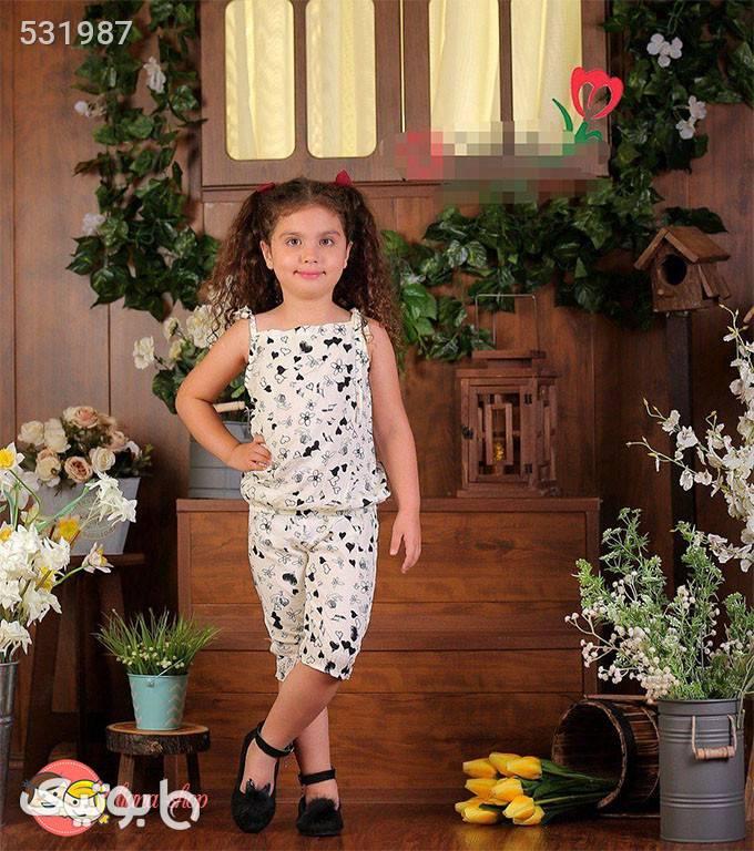 تاپ و شلوارک گره ای دخترانه مشکی لباس کودک دخترانه