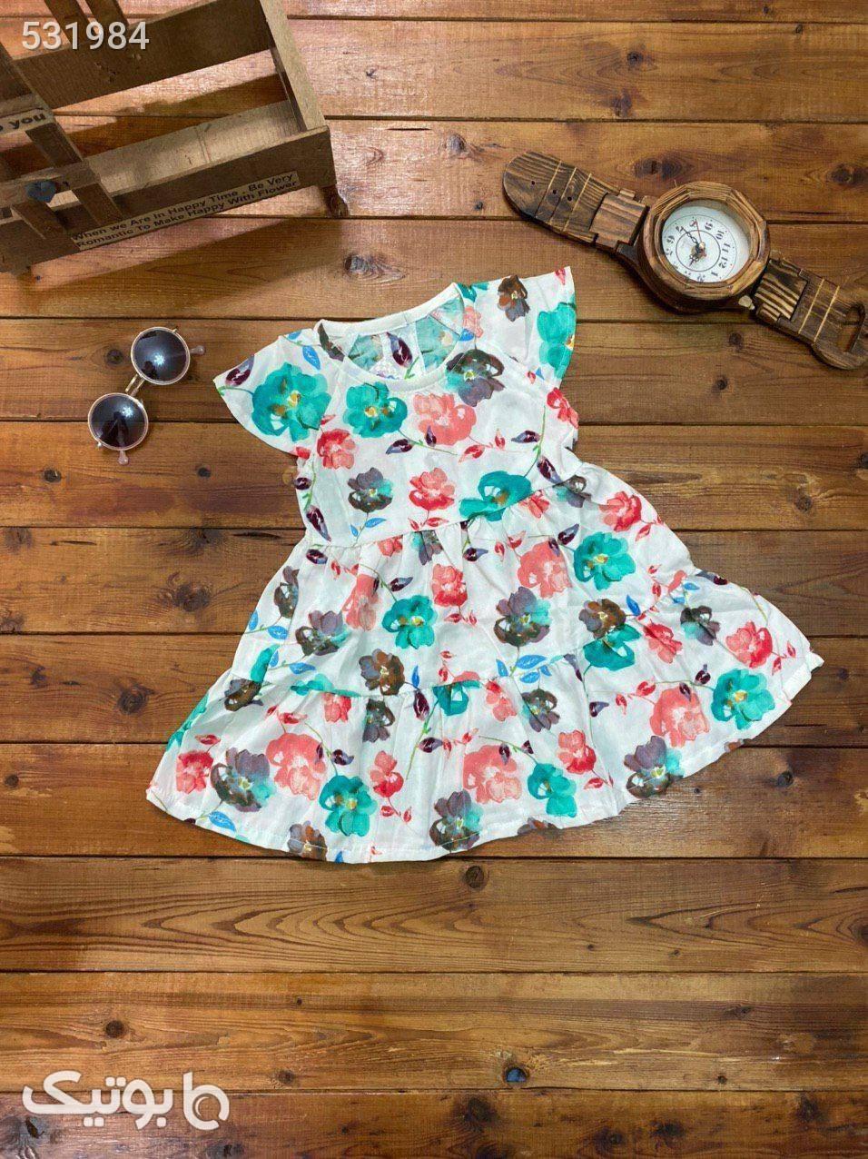 پیراهن دخترانه  گل گلی فیروزه ای لباس کودک دخترانه