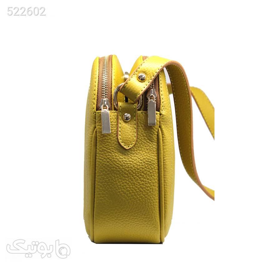 کیف دوشی زنانه چرم آرا کد d036 1 زرد كيف زنانه