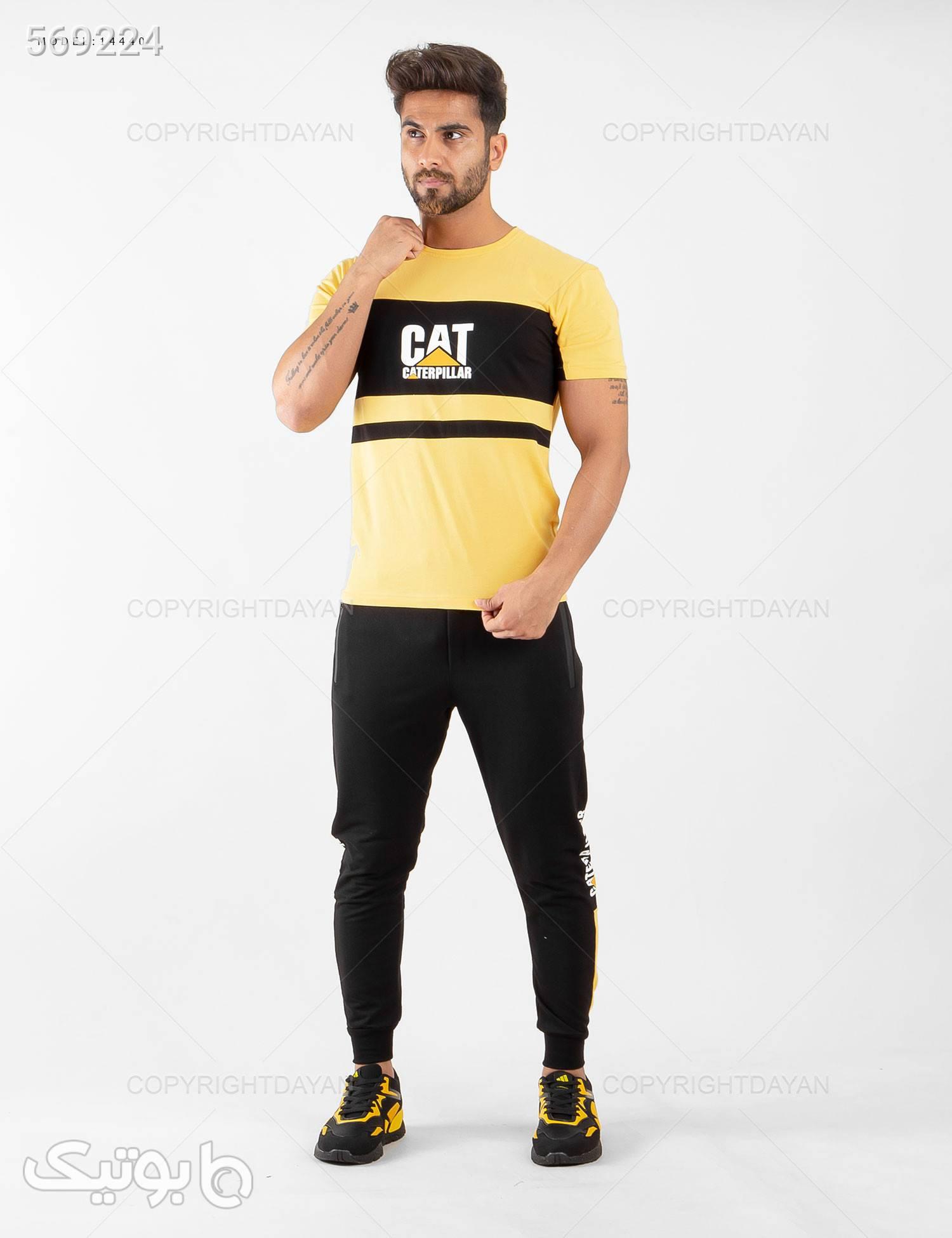 ست تیشرت و شلوار مردانه Cat مدل 14440 مشکی تی شرت و پولو شرت مردانه