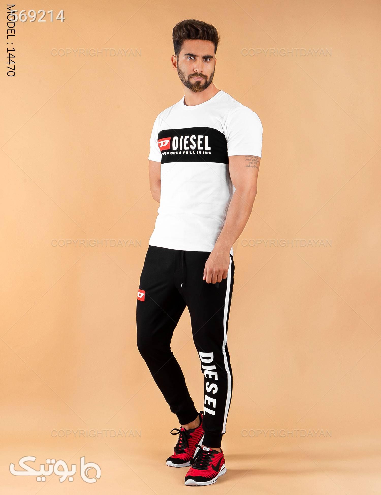 ست تیشرت و شلوار مردانه Diesel مدل 14470 سفید تی شرت و پولو شرت مردانه