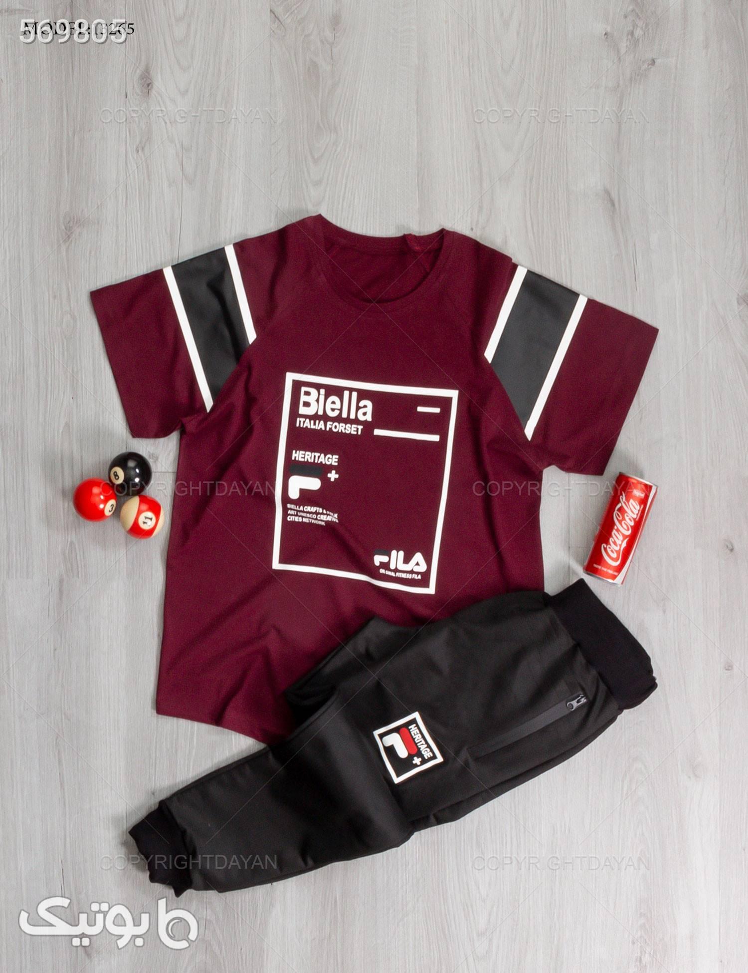 ست تیشرت و شلوار مردانه Fila مدل 13265 مشکی تی شرت و پولو شرت مردانه
