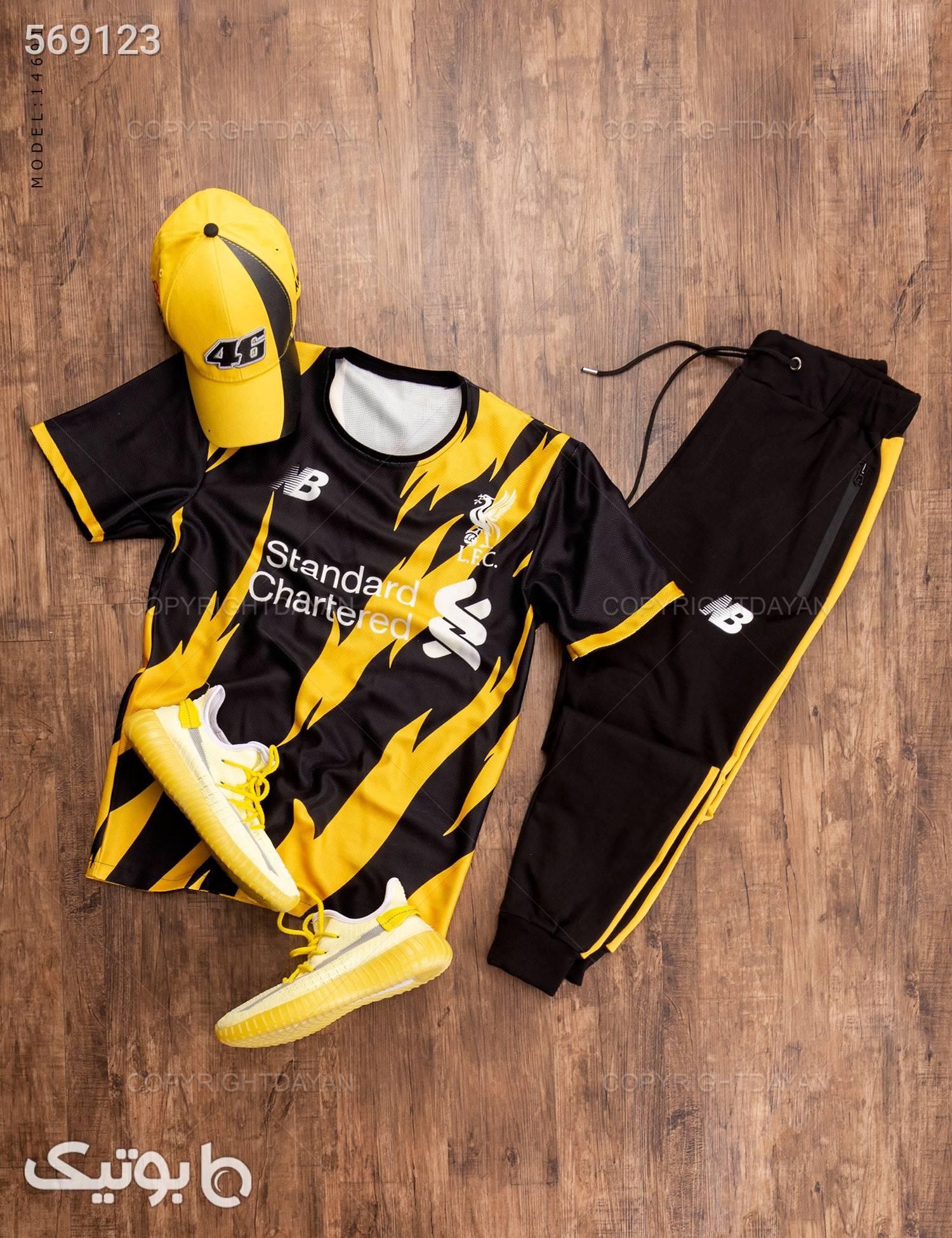 ست تیشرت و شلوار مردانه Liverpool مدل 14691 زرد تی شرت و پولو شرت مردانه