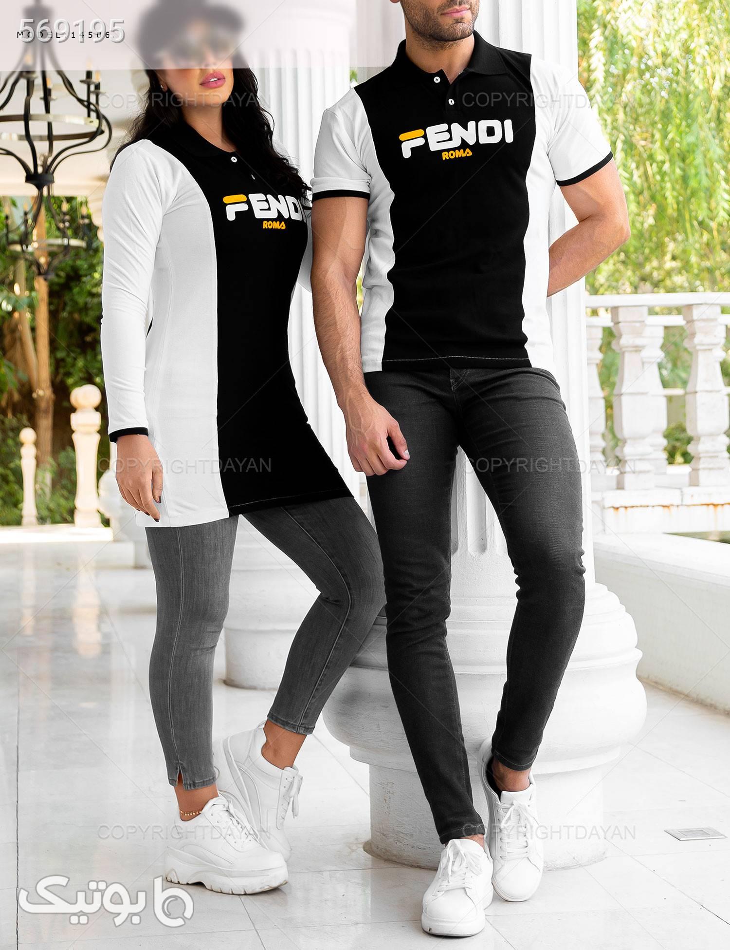 ست دونفره Fendi مدل 14506 مشکی تی شرت و پولو شرت مردانه