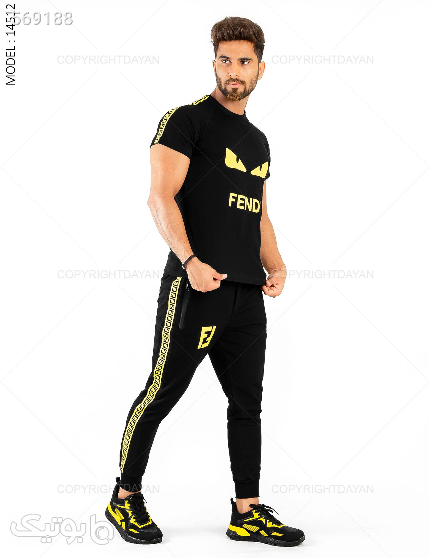 ست مردانه Fendi مدل 14512 مشکی تی شرت و پولو شرت مردانه