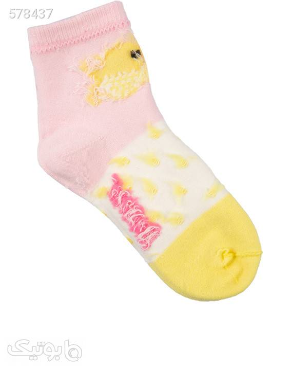 جوراب ساق کوتاه دخترانه جین وست Jeanswest بسته دو عددی زرد جوراب و پاپوش