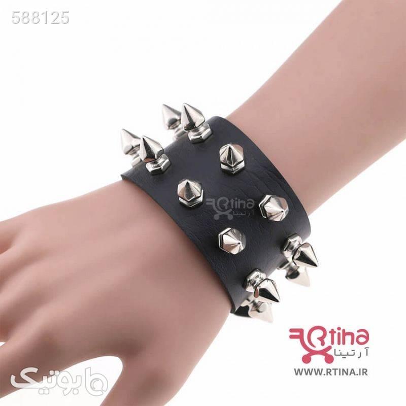 دستبند چرم میخ دار مدل PUNK مشکی دستبند و پابند
