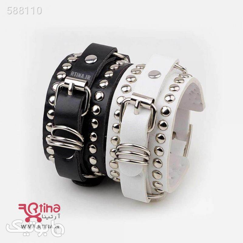 دستبند چرم کمربندی اسپرت مشکی دستبند و پابند