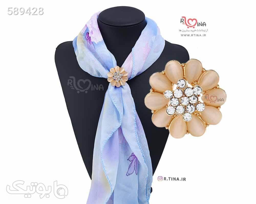 گیره روسری جدید مجلسی فلزی نگین دار طلایی دکمه سردست و گیره کراوات