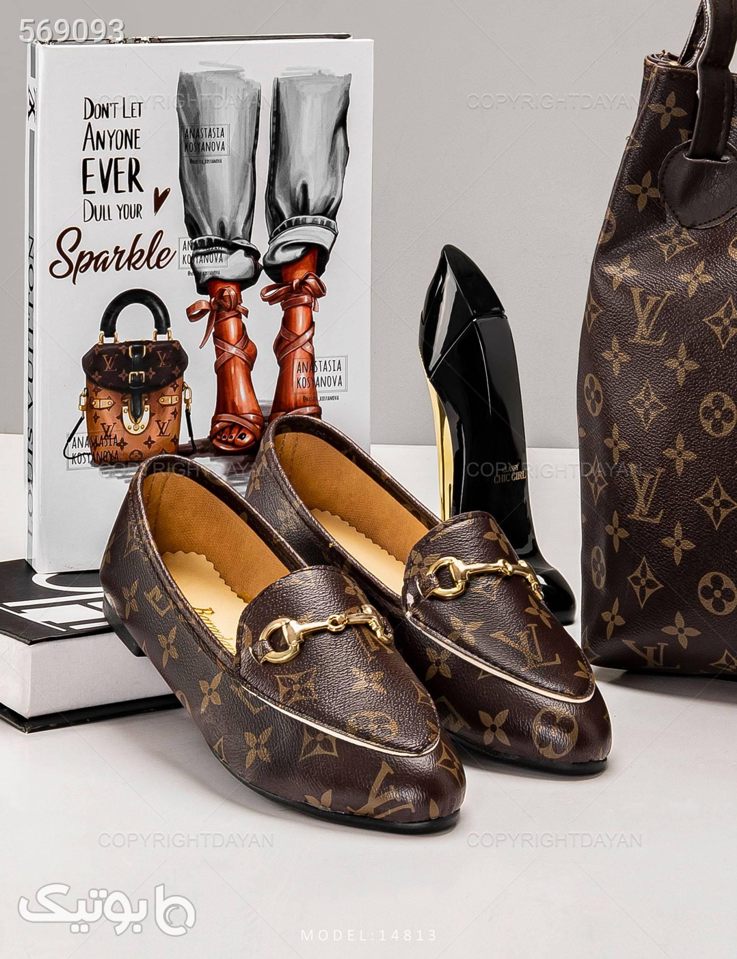 ست کیف و کفش زنانه Louis Vuitton مدل 14813 قهوه ای ست کیف و کفش زنانه