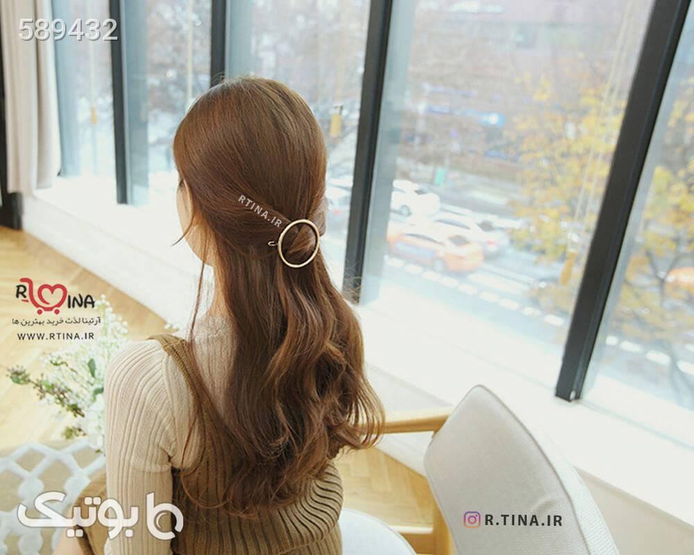 گیره فلزی مجلسی مو هندسی مدل دایره طلایی سنجاق سر و آرایش مو