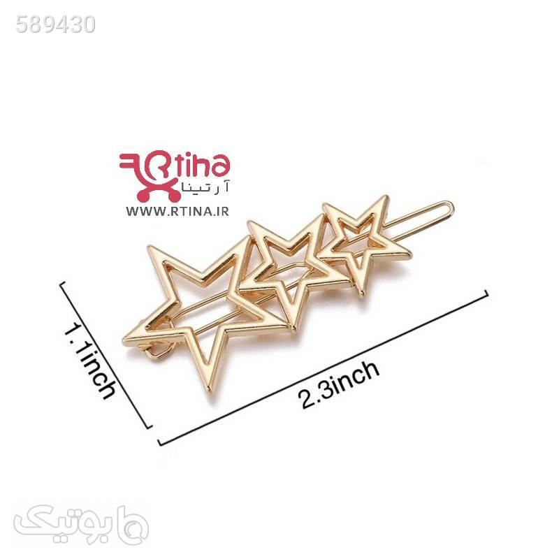 گیره مو فلزی استیل مدل سه ستاره طلایی سنجاق سر و آرایش مو