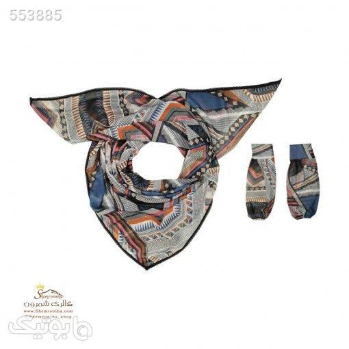 ست روسری و ساق دست مدرن SCA107MS آبی شال و روسری